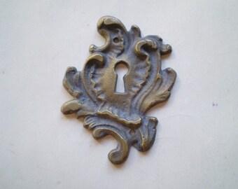 Vintage Escutcheon - Brass Metal - Ornate - Keyhole