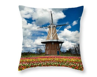 DeZwaan Dutch Windmill Throw Pillow with Tulips on Windmill Island in Holland MI No.80 decorative novelty pillow Home Décor cushion cover