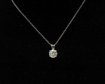 CZ Diamond Solitaire Necklace, Wedding Bridal Necklace, Cubic Zirconia Necklace, Dainty Necklace, Bridesmaids Necklace, Gifts