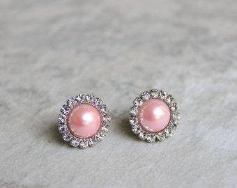 Pink Pearl Earrings, Pink Earrings, Pink Bridesmaid Jewelry, Bridesmaid Earrings, Pink Jewelry Gift, Bridesmaid Gift, Pink Wedding Jewelry