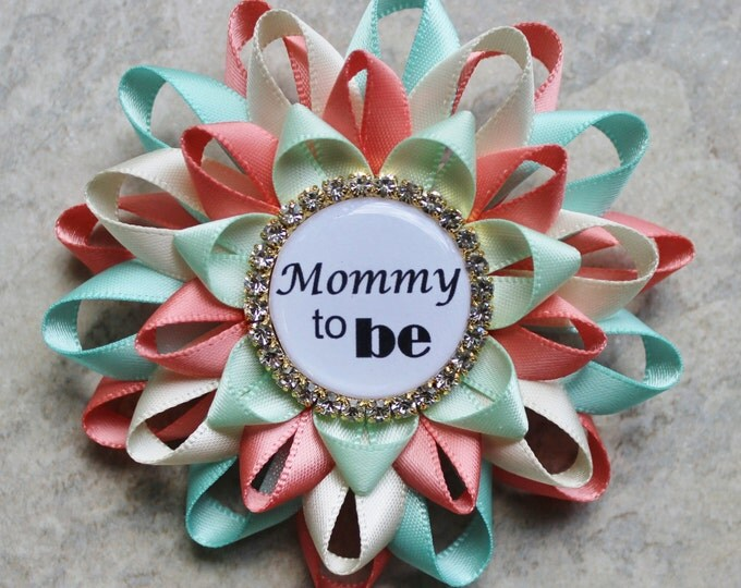 Gender Neutral Baby Shower Corsages, Gender Reveal Ideas, Coral, Gold, Mint, Aqua Baby Shower Decorations, Mommy to Be Pin, New Mom Gift