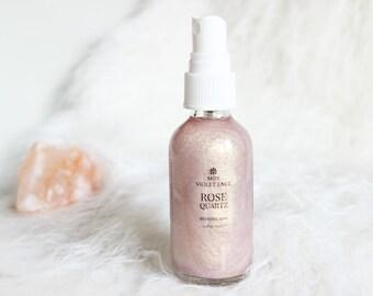 Rose Shimmer Mist   Hibiscus Infused Shimmer   100% natural and vegan   Rose Quartz Crystal Shimmer