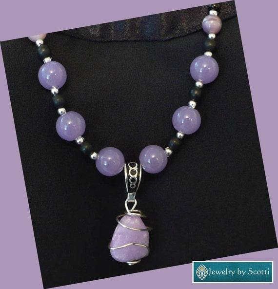 Lavender Gemstone Pendant Necklace, Her Beaded Necklace, Wire Wrapped Pendant, Her Lilac Necklace, Purple Necklace, Statement Necklace