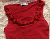 RESERVED for Zike Moschino red flower embellished top, 90s designer, USA 10, GB 14, made in Italy, tank top, floral, Italian iconic brand