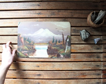vintage mountainscape painting