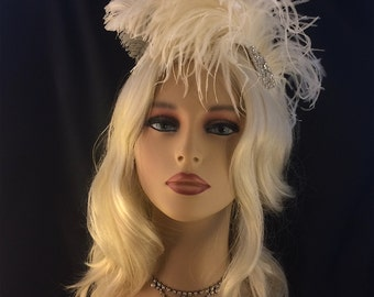 Statement Wedding Headpiece, Fascinator, Wedding Hair Fascinator, Ivory Ostrich Hair Clip, Wedding Hair Clip, Bridal Fascinator, Speakeasy