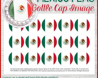MEXICO FLAG Bottle Cap Image, Mexican Flag Printable, Inchie, 1-Inch Circle, Digital Collage, World Flags -Printable Instant Download