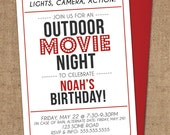 Movie Night Invitation - DIY Printable - Outdoor, Backyard, Movie, Theater, Birthday