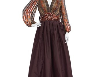 Vintage 70's Brown Psychedelic Print Metallic Poet Sleeves Silk BEADED Empire Waist Full Skirt Taffeta Evening Gown Princess Maxi DRESS