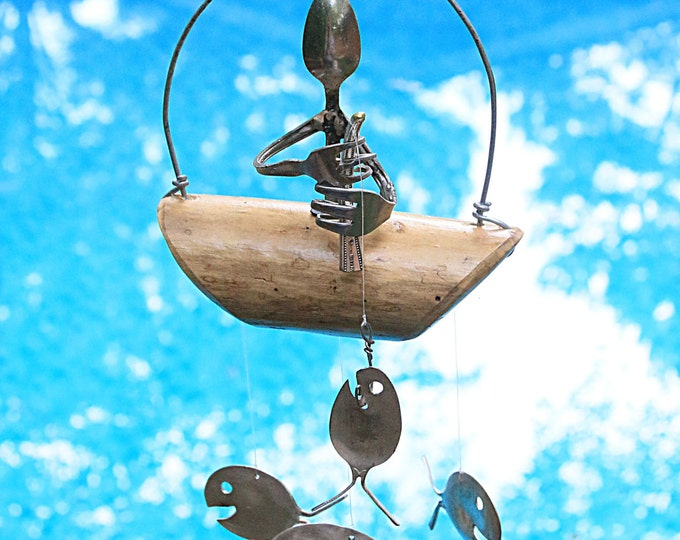 Minnow Sized Gone Fishing Windchimes Porch Decorations Ocean Breeze Sounds Waves Water Drift Cigar Boats Wooden Pier Dock Starboard Portside