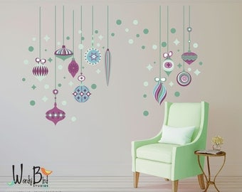 Reusable - Repositionable Christmas Wall Decal - Holiday Decor - vintage style ornaments - starburst decal - polka dot decal