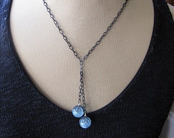 Aquamarine Necklace Aquamarine Lariat Aquamarine Sphere Modern Artisan Necklace Gemstone Lariat Unique Necklace Aquamarine Ball Lariat Black