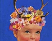 Medium Print from my Original Collage, Wood Sprite -- Cute, Fairy, Antlers, Deer, Purple, Flowers, Nature, Forest, Faerie, Surreal, Weird