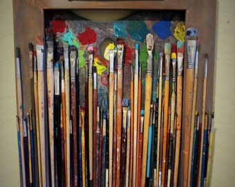 Colorful Old Paintbrushes and Palette Shadow Box Collage Framed in Grey