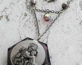 Religious Rosary Mini Pendant Holder Purple Glass Mother and baby Silver Tone Jewelry Necklace