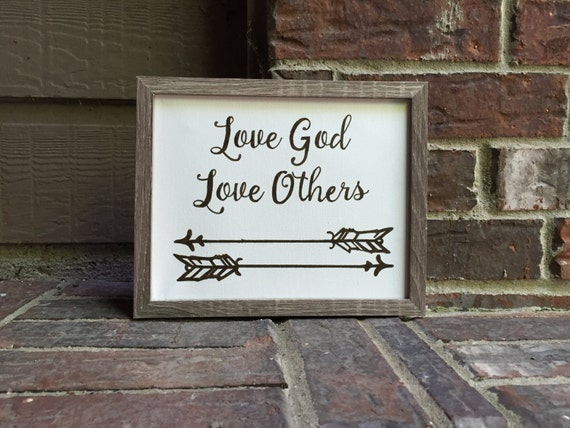 "8""x10"" Love God Love Others with arrows Inked on Wrapped Canvas"