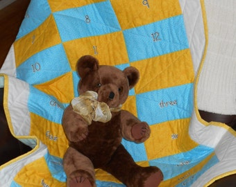 YELLOW and AQUA Crib or Tummy Time or Wall Hanging QUILT Approx 29 x 43 with numbers and words. White backing