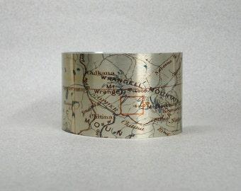 Wrangell Mountains National Park Alaska Cuff Bracelet Vintage Map Unique Gift for Men or Women