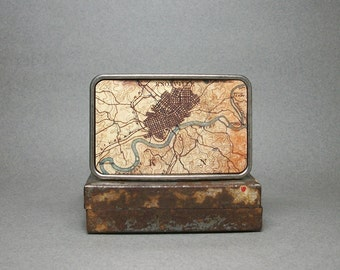 Belt Buckle Knoxville Tennessee Vintage Map Cool Gift for Men or Women