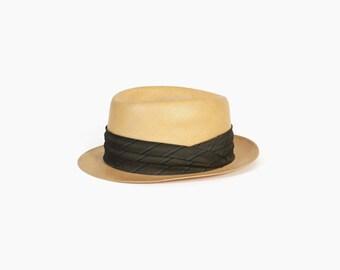 Vintage 60s STRAW Fedora / Men's 1960s Stetson Premier Balibuntal Panama Straw Hat 7 1/4