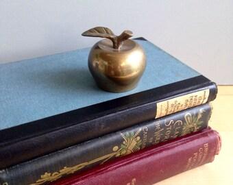 Small Vintage Brass Apple Bell  / Vintage Home Decor / Teacher Gift / Antique Brass Bell / Apple Home Decor