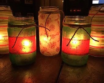 Colorful Christmas Candle Votives - Pair