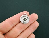 Dog Stainless Steel Charms Unconditional Love with Paw - Exclusive Line - Quantity Options - BFS1348 NEW1