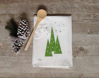 Tea Towel - Christmas Winter Evergreen Retro Trees Holiday Falling Snow Flour Sack Dish Cloth Kitchen Home Decor Rustic Minimalist