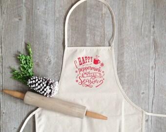 Christmas Apron Happy Peppermint Mocha Season Apron Holiday Baking Cotton Canvas Full Apron Christmas Baking Cooking Gourmet Gift