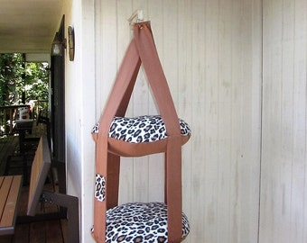 Cat Bed, Copper & Fleece Leopard Print Kitty Cloud, Double Hanging Cat Bed, Pet Furniture, Pet Bed, Cat Gift