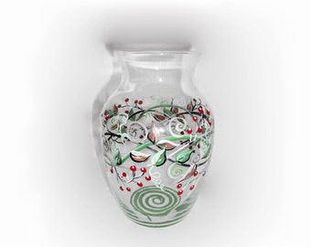 Hand Painted Glass Vase Carolina Red Berries with Vines and Leaves Handpainted Vase Leaves and Berry Green and Red Vase Home decor