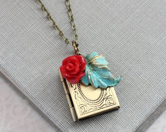 Book Locket Necklace Red and Teal Charms Pendant Secret Hiding Place Photo Locket Rustic Verdigris Patina Leaf Red Rose Christmas Gift