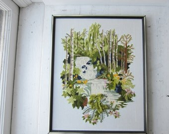 Vintage Tropical Crewel Embroidery Wall Hanging - 1970s - Vintage Modern Home Decor 18 x 20