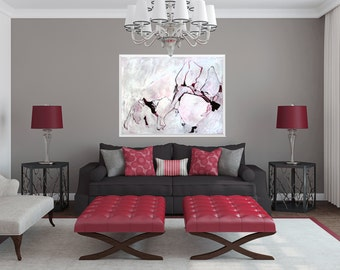 Large Abstract ORIGINAL Painting, Abstract Art, Acrylic Ink Painting, Red Wine Pink Gray White Black Painting, Line Painting, Scarlet Ribbon