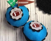 Carolina Panthers Super Bowl 50 Football Felt Cupcake - Home Decor, Tailgating, Football Party, Gifts, Pin Cushion, Centerpiece, Table Decor