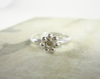 Sz 7.75 - Lg Daisy Ring - Sterling Silver Stacking Rings - Hand Forged Ring - Simple Silver Ring - Artisan Handmade Ring - Linda McNair