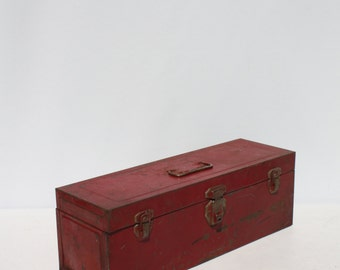 Vintage Metal Box Industrial Storage Tool Box Red Distressed Union Steel Chest Large Rectangular