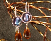 Rose Gold Filled Blue and Amber Earrings Petite Feminine Trending