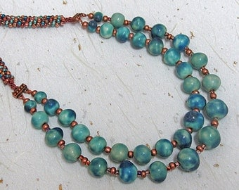 Porcelain and kumihimo beaded necklace turquoise necklace long necklace turquoise and copper necklace