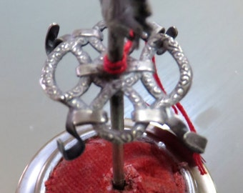 Hat Pin / Pin Cushion Holder with Amthyst THistle Top c 1900