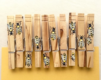 10 HONEY BEE CLOTHESPINS hand painted magnetic clothespins woodgrain