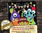 Monster Birthday Invitation - Birthday Bash - BOY - Printable