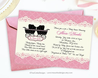Twin Girls Baby Shower Invitation - Baby Strollers - Pink and Ivory - Printable