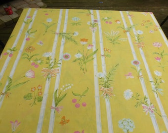 Vintage TWIN Flat Sheet Yellow Bamboo Strawberries Ribbon Bow Flowers Butterfly Butterflies Sugar Cane