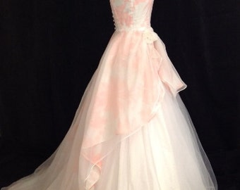 Long Floral Wedding Dress, ENCHANTED, Cotton Silk Ballgown Pink, Blue, Coral