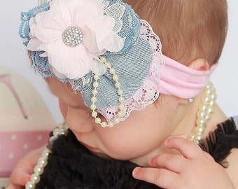 Baby Headbands, Pink and Denim Baby Headband, head wrap, Jersey cotton Baby Headbands, birthday headband