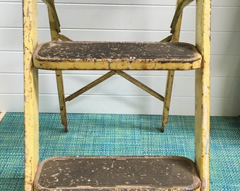 Vintage Rusty Yellow Metal Folding Step Stool Ladder- short ladder, rustic decor, rusty ladder, yellow step stool, folding ladder, primitive
