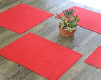 Red Coral Burlap Placemats / Hand dyed