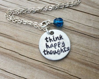 "Happy Thoughts Inspiration Necklace- ""think happy thoughts"" with and accent bead in your choice of colors-  hand stamped jewelry"