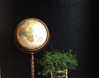 vintage replogle world globe on long wood stand // raised relief atlas // 12 inch // tan multicolored